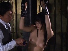 Rina Itou Asian with specs hangs all naked and in...