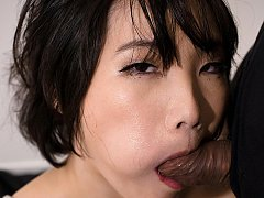 Akari Misaki is tightly bound in shibari as she is...