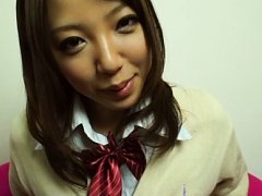 Saito Ookura Asian in uniform rubs her pussy in fr...