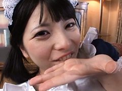 Ai Uehara Asian maid with cum on her mouth and on...