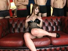 Rei Aimi Asian rubs crack with thong and fingers i...