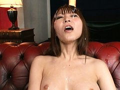 Rei Aimi Asian gets cum on nasty titties and on sk...
