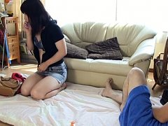 Japanese AV Model is pumped on the floor after pho...