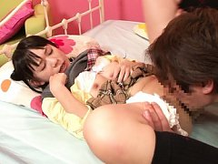 Marie Konishi Asian has shaved crack licked on and...