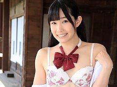 Hot Japanese schoolgirl Yui Kasugano gets naked an...