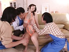 JULIA Asian with big cans is touched all over body...