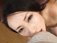 Aya Shiina Asian all naked sucks phallus with a lo...