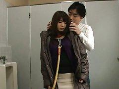 Naomi Sugawara Asian in leash has beaver rubbed at...