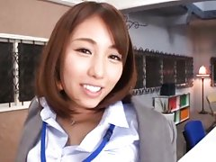 Arisu Miyuki Asian in office outfit sucks and play...