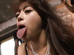 Maki Hokujo Asian has cum pouring from tongue afte...