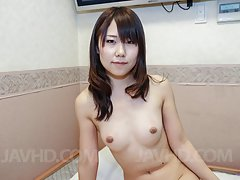 Namiko Asian with hairy cunt and juicy chest sucks...