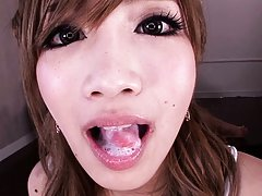 Erika Shibasaki Asian has cum in mouth after sucki...