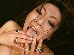 Emi Harukaze gets jizz on face after a wild hardco...