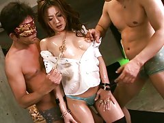Emi Harukaze Asian bimbo goes nasty on two cocks i...