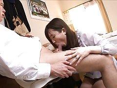 Nana Aoyama gets ready to suck cock like a filthy...