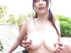 Hana Nonoka Asian has nipples of big hooters squee...