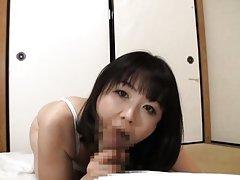 Hitomi Enjou Asian babe with big boobs enjoys swal...
