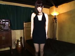 Amateur Asian chick rubs twat over stockings and f...