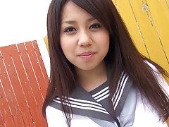 Japanese girl Satsuki wears a schoolgirl uniform c...