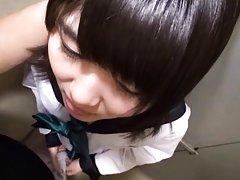 Amateur Asian doll in school uniform takes hard pe...