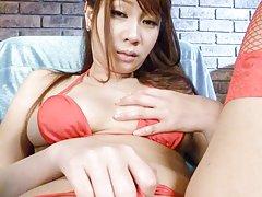 Natsuki Shino Asian enjoys vibrator on cunt and ge...