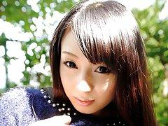 JAV Idol Kokona Sakurai pulls up her skirt outdoor...