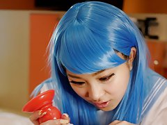 JAV Idol Maki Horiguchi in maid cosplay and exciti...