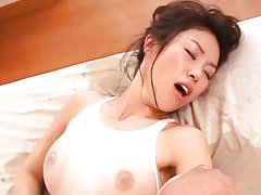 Akane Nagase Asian is oiled over lingerie and fing...