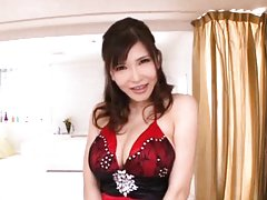 Anri Okita Asian undresses and gets woody between...
