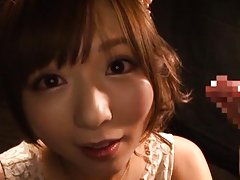 Yuu Asakura Asian with hot cleavage licks two shlo...