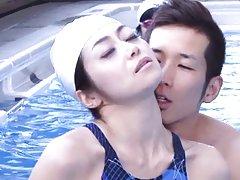 Maki Hokujo Asian in swimming suit sucks her train...