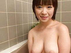 Wakaba Onoue Asian with big boobs rubs cock with s...