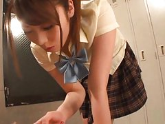 Ayu Sakurai Asian fucks stiffy with her crack unde...