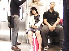 Amateur Asian falls asleep in subway and has twat...