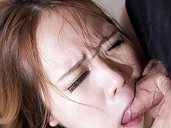 Petite slut Rena Matsumoto takes a hard throat fuc...
