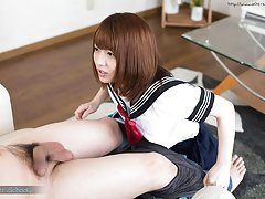School girl Rika Mari masturbates then sucks and f...