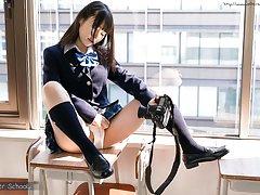 school girl Nozomi Momoki takes selfies pics of he...