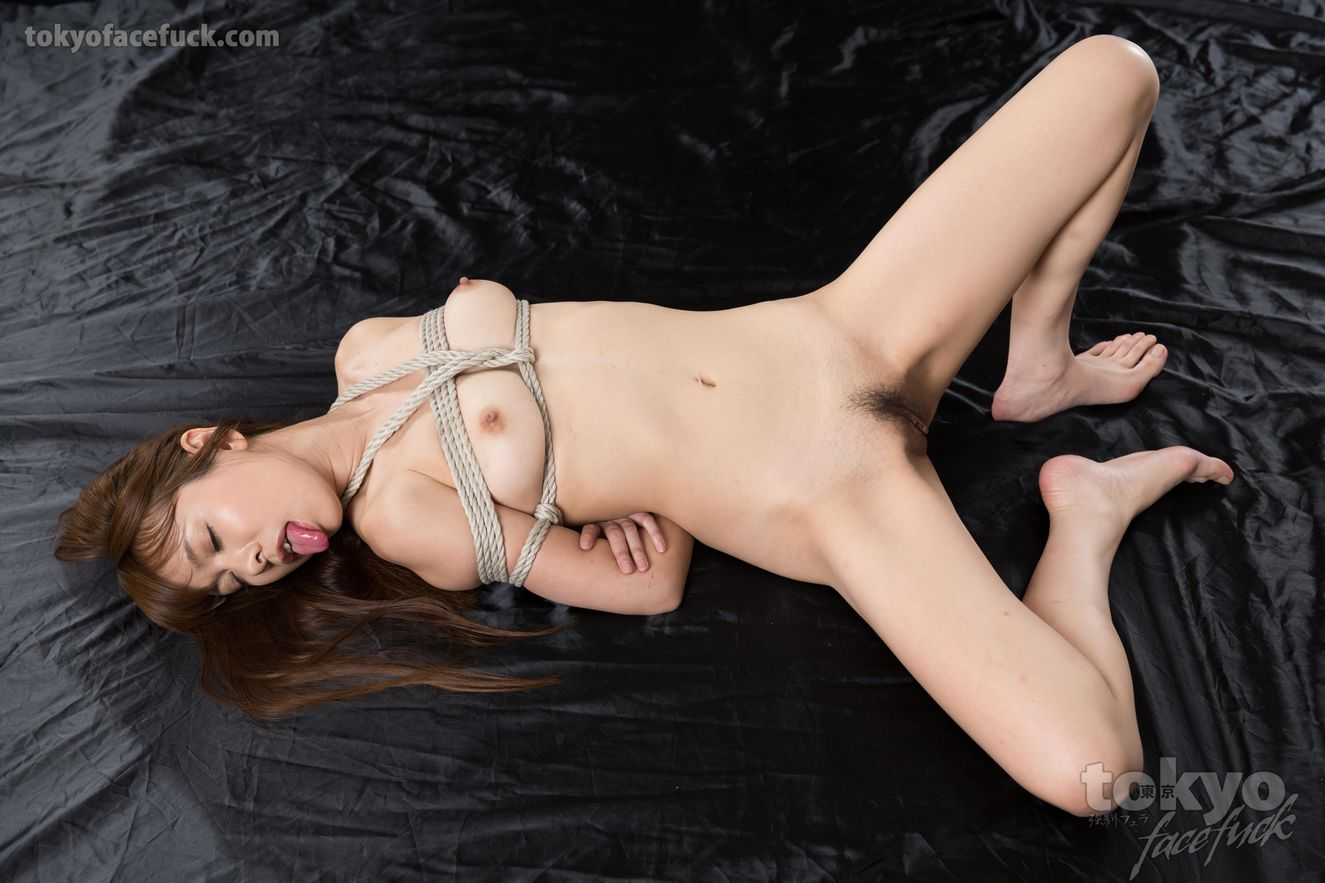 Miharu Kai is bound in shibari ropes for face fuck...