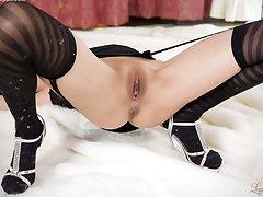 In designer stockings and silver high heels Uta Ko...