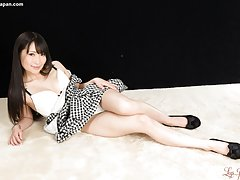 In high heels and short skirt Minami spreads hairl...