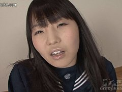 Japanese teen Yui surrounded by cum squirting cock...